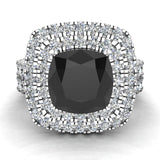 Black Diamond Cushion Cut Double Halo Diamond wedding rings for women 18K Gold 3.80 ctw (G,VS) - White Gold