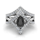 Pear Cut Black Diamond Wedding Ring Set 14K Gold (I,I1) - White Gold