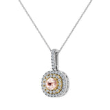 Round Cut Pink Morganite Cushion Double Halo 2 tone necklace 14K Gold (I,I1) - Yellow Gold