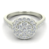 Dainty Flower Cluster Diamond Halo Engagement Ring 0.78 ctw 14K Gold (G,I1) - White Gold