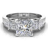 Past Present Future Princess Diamond Engagement Ring 1.81 ctw 14K Gold (G,I1) - White Gold