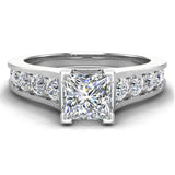 1.32 ctw Riviera Shank Princess Cut Diamond Engagement Ring 14K Gold (F,VS) - White Gold