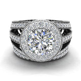 Large Moissanite Wedding Ring Set 18K Gold Halo Rings for women 8.00 mm 3.95 carat (G,VS) - White Gold