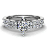 Petite Wedding Rings for women Marquise Cut Bridal set 14K Gold 0.90 carat (I, I1) - White Gold