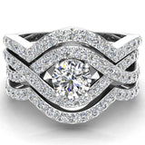 Criss Cross Intertwined Diamond Wedding Ring Set w/ Enhancer Bands 1.20 Carat 14K Gold (G,I1) - White Gold