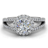 Split Shank Halo Diamond Ring 1.20 ctw Engagement Ring 14k Gold (G,VS) - White Gold