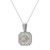 Princess Cut Diamond Cut Cornered Halo 2 tone Necklace 14K Gold (G,I1) - Yellow Gold