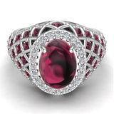 Cabochon Garnet & Diamond Cocktail Ring Halo Style Dome Shape Fashion Ring 2.93 Carat Total Weight 18K Gold - White Gold