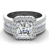 Stunning Princess Cushion Halo Diamond Wedding Ring Set 1.56 ctw 18K Gold (G,SI) - White Gold