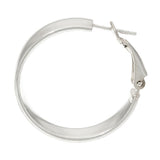 "Sterling Silver 1"" Omega Back Hoop Earrings by Silver Style with Gift Box"