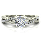 Twisting Infinity Diamond Engagement Ring 14K Gold 0.63 ctw (I,I1) - White Gold
