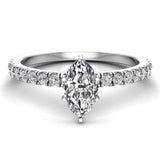 Petite Engagement rings for women Marquise Cut diamond ring 18K Gold 0.65 carat (G,SI) - White Gold