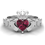 Genuine Heart Red Garnet Claddagh Diamond Ring 0.62 Carat Total Weight 14K Gold - White Gold