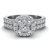 Petite Wedding rings for women Cushion Halo Princess Cut diamond bridal set 18K Gold 1.55 carat (G, VS) - White Gold