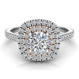0.88 ct Cushion Halo Diamond Engagement Ring Rose Gold Highlight 18K White Gold (G,SI) - White Gold