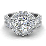 Moissanite Wedding Ring Set 18K Gold Halo Rings for women 7.40 mm 5.15 carat (G,VS) - White Gold