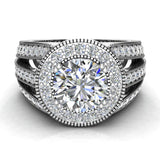 Large Moissanite Engagement Ring Real Accented Diamond Ring 18K Gold 7.30 mm 2.80 carat tw (G,VS) - White Gold
