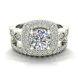 Crescent Wave Shank Round Diamond Cushion Halo Wedding Ring w Band 1.46 ctw 14K Gold (G,I1) - White Gold