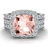 Wedding Ring Set for Women Cushion cut Morganite Halo Diamond Ring 18K Gold 3.85 carat (G,VS) - White Gold