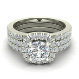 Luxury Round Cushion Halo Diamond Engagement Ring Set 14K Gold (G,I1) - White Gold