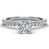 Petite Engagement rings for women Round Brilliant Cut diamond ring 14K Gold 0.65 carat (I,I1) - White Gold