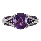 3.50 ct tw Amethyst & Diamond Cut White Topaz Sterling Ring
