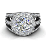 Large Moissanite Engagement Ring Real Accented Diamond Ring 14K Gold 8.00 mm 3.50 carat tw (I,I1) - White Gold