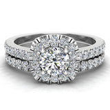 Round Cut Cushion Halo Ring Set 1.00 Carat Total Weight 14K Gold (G,VS1) - White Gold