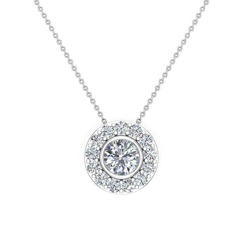 Round Diamond Halo Pendant Bezel Setting 14K Gold (I,I1) - White Gold