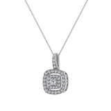 Cushion Twining Dainty Charm Necklace 14K Gold 0.41 Ctw (I,I1) - White Gold