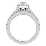 Marquise Cut Halo Diamond Wedding Ring Set 1.25 Carat Total 14K Gold (I,I1) - White Gold