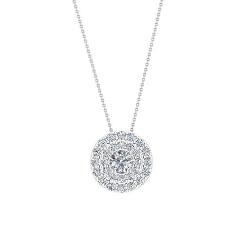 Round Double Halo Diamond Necklace 14K Gold (I,I1) - White Gold
