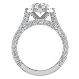 Moissanite Wedding Ring Set 14K Gold Halo Rings for women 7.40 mm 5.15 carat (I,I1) - White Gold