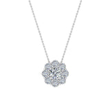 Round Diamond Halo Pendant 14K Gold (I,I1) - White Gold