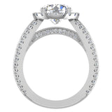 Moissanite Engagement Rings 14K Gold Real Diamond accented Ring Channel Set 6.35 carat tw (G,SI) - White Gold