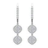 Cushion Diamond Dangle Earrings Dainty Drop Style 14K Gold 1.10 ctw (G,SI) - White Gold