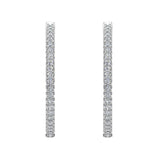 Exquisite 34.69 mm Diameter Inside Out Diamond Hoop Earrings 1.80 Ctw 14K Gold Shared Prong Setting (G,SI) - White Gold