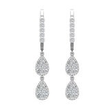 Teardrop Diamond Dangle Earrings Dainty Drop Style 14K Gold 0.92 ctw (G,SI) - White Gold