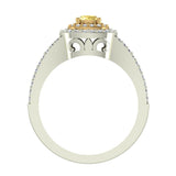 Fancy Yellow Cushion Cut Diamond V Shank Halo Engagement Ring 1.00 Carat Total Weight 18K Gold (G,VS) - White Gold