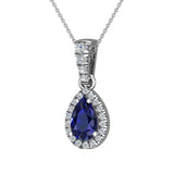 Pear Cut Sapphire Halo Diamond Necklace 14K Gold (G,I1) - White Gold