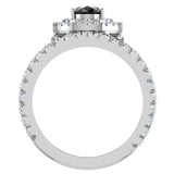 Pear Cut Black Diamond Double Halo Wedding Ring Set 18K Gold (G,VS) - White Gold