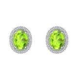4.20 ct tw Green Peridot & Diamond Cabochon Stud Earring In 14k Gold (G, I1) - White Gold