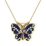 Exquisite Sapphire Butterfly Necklace 14K Gold 0.86 Ctw - Yellow Gold