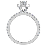 Petite Wedding rings for women Halo Round Brilliant Cut bridal set 14K Gold 1.50 carat (I, I1) - White Gold