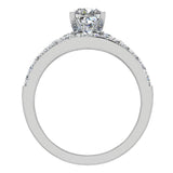 Two Row Princess Solitaire Diamond Engagement Ring Set 14K Gold (I,I1) - White Gold