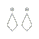Magnificent Diamond Dangle Earrings delicate Kite Halo Stud 14K Gold (I,I1) - White Gold