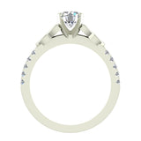 0.90 Carat Art Deco Trinity Knot Solitaire Wedding Ring 14K Gold (I,I1) - White Gold