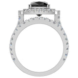 Black Diamond Cushion Cut Double Halo Diamond wedding rings for women 14K Gold 3.80 ctw (I,I1) - White Gold