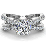 X Cross Split Shank Square Cushion Shape Diamond Engagement Ring 1.75 carat Total 14K Gold - White Gold