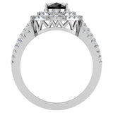 Black Diamond Engagement Rings for Women Oval Cut 14K Gold Diamond  Halo 2.65 carat (G,SI) - White Gold